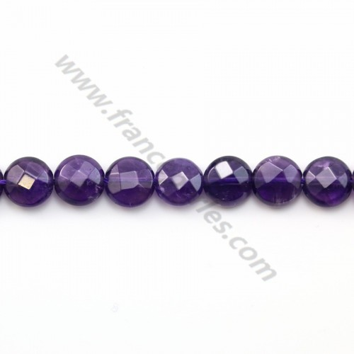 Amethyst Faceted Flat Round 8mm X 2 pcs