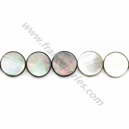 Gray mother-of-pearl flat round beads on thread 15mm x 40cm