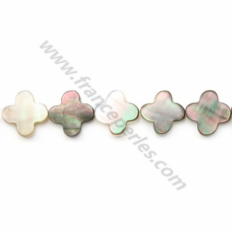 Gray mother-of-pearl clover beads on thread 10 mm x 40cm