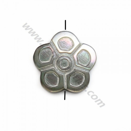 Gray mother-of-pearl flower beads 18mm x 2 pcs