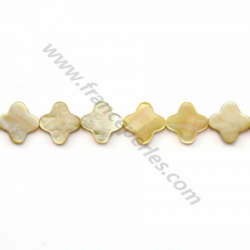 Yellow mother-of-pearl clover beads on thread 12mm x 40cm