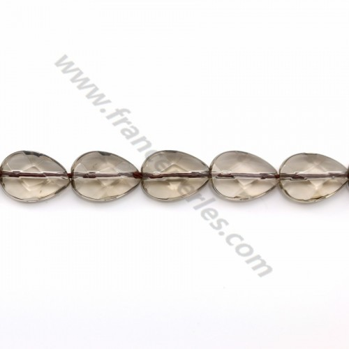 Smokey quartz drop flat faceted 6.5*7mm x 40cm