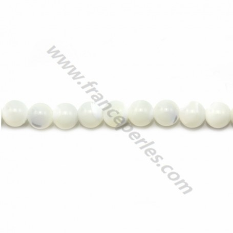 White monther-of-pearl round beads on thread 6mm x 40cm