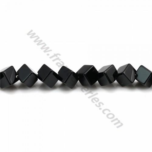 Agate noir tonnelet facetté 4*6mm x 40cm
