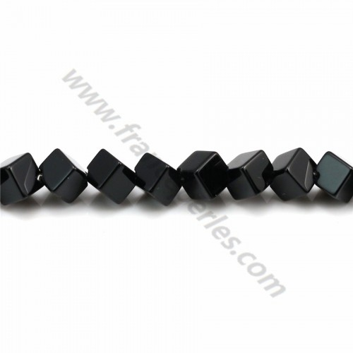 Black agate faceted keg 2*6mm x 40cm