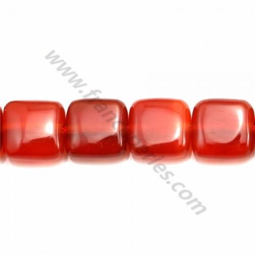 Agate rouge carré 8mm x 40cm