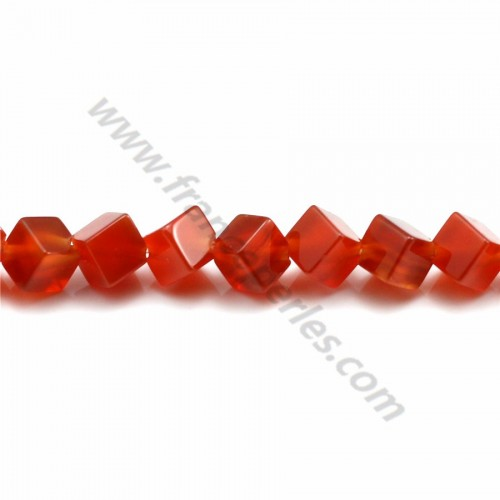 Red agate heart shaped 8mm x 40cm