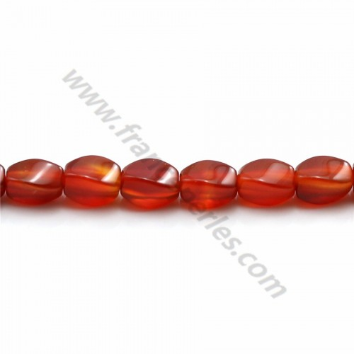 Red agate torsaded oval 5.5*7.5mm x 10pcs