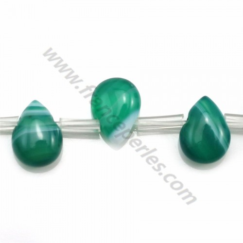 Green agate flat drop 10*14mm x 40cm