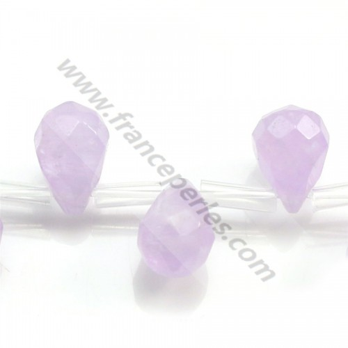 Clear amethyst faceted drop 8*12mm x 40cm