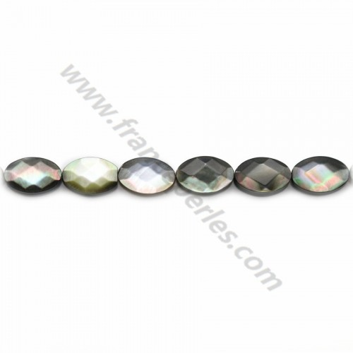 Gray mother-of-pearl faceted oval beads 6x10mm x 40cm