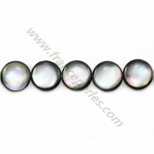 Gray mother-of-pearl bulged round beads on thread 16mm x 40cm
