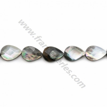 Grey shell faceted flat drop 10*14mm X 40cm