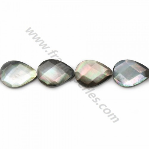 Gray mother-of-pearl faceted flat drop beads on thread 14x18mm x 40cm