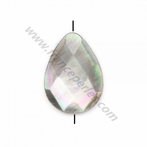 Gray mother-of-pearl faceted flat drop beads 14x18mm x  4 pcs