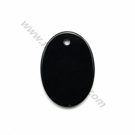Pendant black agate oval 15*20mm x 1pc