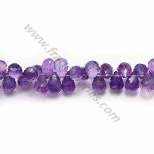 Amethyst faceted drop 6*9mm x 2pcs