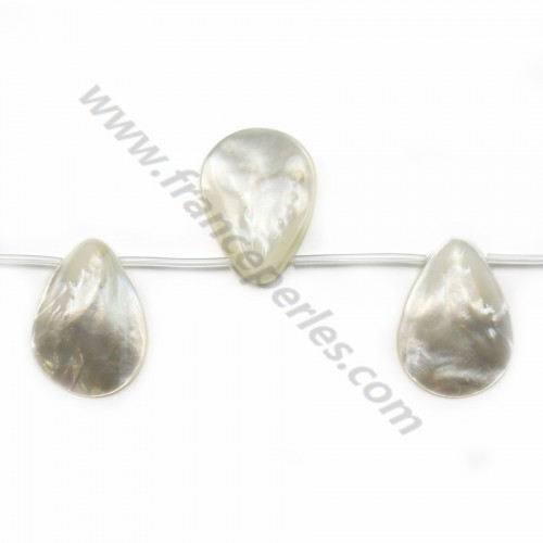 White mother-of-pearl flat drop beads on thread 25x35mm x 40cm