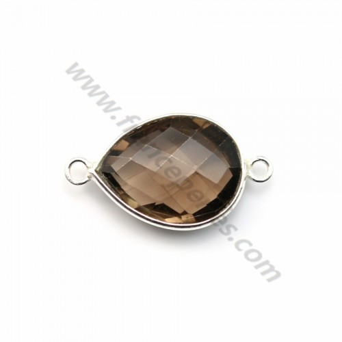 Faceted drop smoky quartz set in sterling silver 2 rings 13*17mm x 1pc