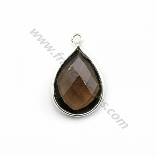 Faceted drop smoky quartz set in sterling silver 13*17mm x 1pc