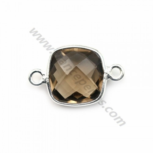 Faceted cushion cut smoky quartz set in sterling silver 2 rings 11mm x 1pc