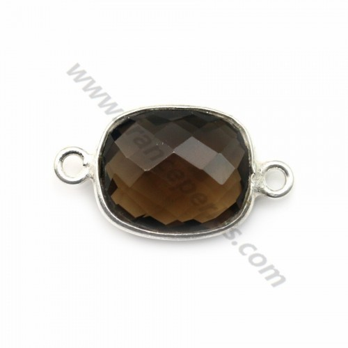 Smoky Quartz  rectangle 11-11.4mm x 12.5-13mm set in Silver  x 1pc