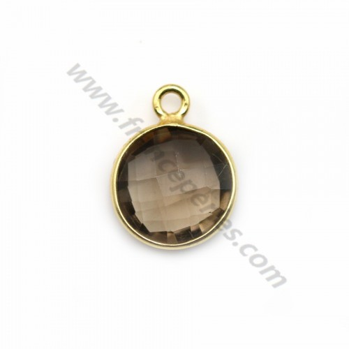Faceted round smoky quartz set in gold-plated silver 11mm x 1pc