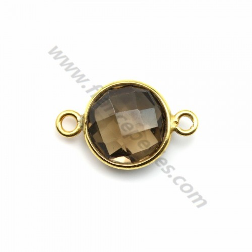 Faceted round smoky quartz set in gold-plated silver 2 rings 11mm x 1pc
