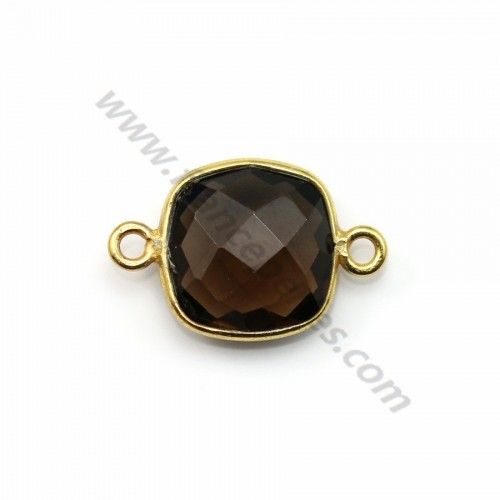 Faceted cushion cut smoky quartz set in gold-plated silver 2 rings 11mm x 1pc