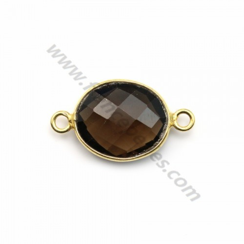 Faceted oval smoky quartz set in gold-plated silver 2 rings 10*12mm x 1pc