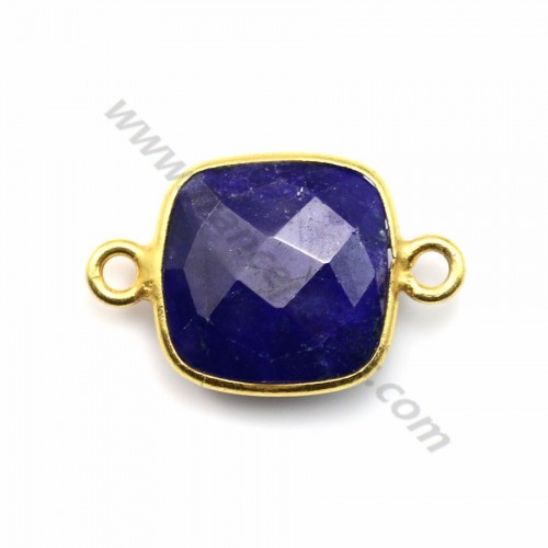 Square faceted treated blue gemstone set in gold plated silver 2 rings 11mm x1pc