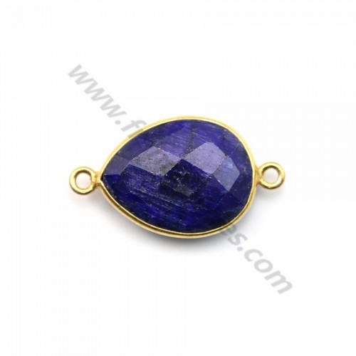 Drop faceted treated blue gemstone set in gold plated silver 2 rings 13x17mm x1pc