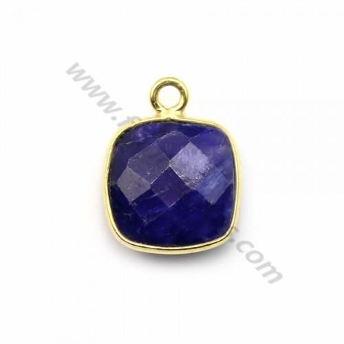 Square cut faceted treated blue gemstone set in gold-plated silver 11mm x 1pc