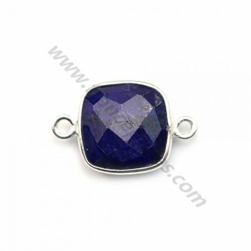 Square cut faceted treated blue gemstone set in 925 sterling silver 2 rings 11mm x 1pc