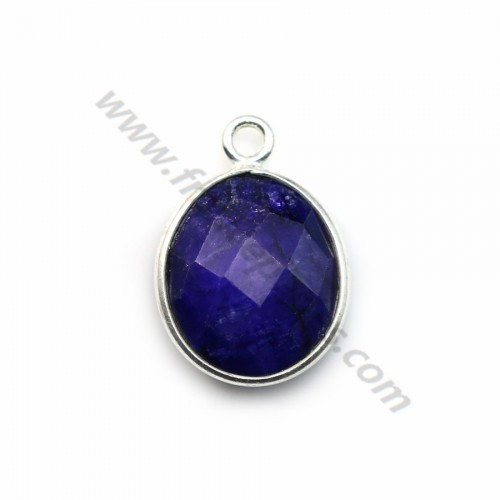 Oval faceted treated blue gemstone set in sterling silver 11x13mm x 1pc