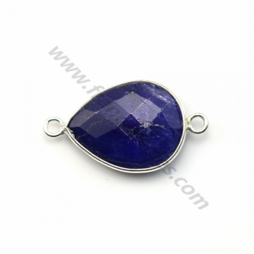 Drop-shape faceted treated blue gemstone set in sterling silver 2 rings 13x17mm x 1pc
