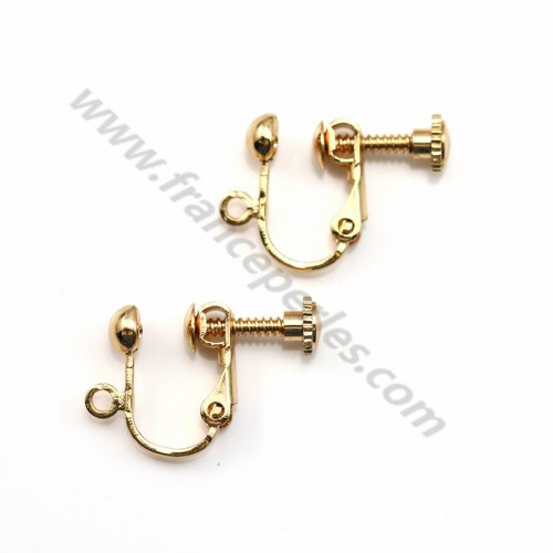 "Clous d'oreilles clip plaqué par ""flash"" or sur laiton 13mm x 6pcs"