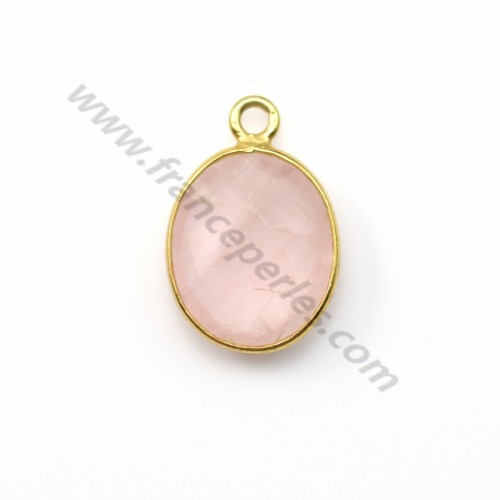 Faceted oval rose quartz set in gold-plated silver 10*12mm x 1pc