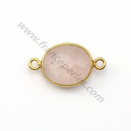 Faceted oval rose quartz set in gold-plated silver 2 rings 10*12mm x 1pc