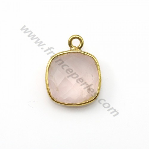 Faceted cushion cut rose quartz set in gold-plated silver 11mm x 1pc