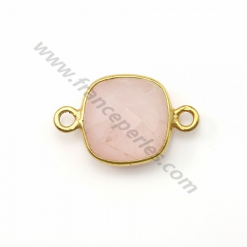 Faceted cushion cut rose quartz set in gold-plated silver 2 rings 11mm x 1pc