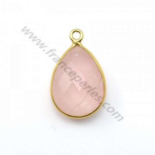 Faceted drop rose quartz set in gold-plated silver 13*17mm x 1pc