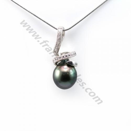 Pendentif Perles Tahiti bélière Argent 925 10x24.5mm x 1pc