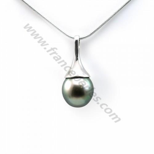 Pendentif Perles Tahiti bélière Argent 925 9.6x21.6mm x 1pc