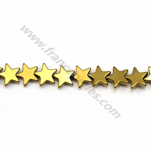 Hematite gold plated star 6mm x 40 cm