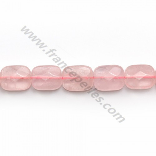 Quartz rose rectangle facette 8x10mm x 40cm