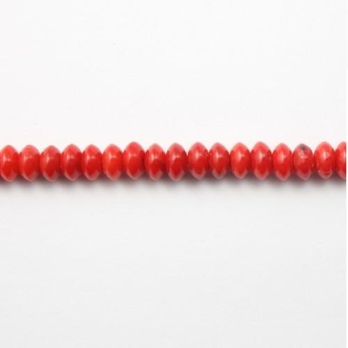 Bambou de mer teinté rouge en rondelle 2x4mm x 40pcs