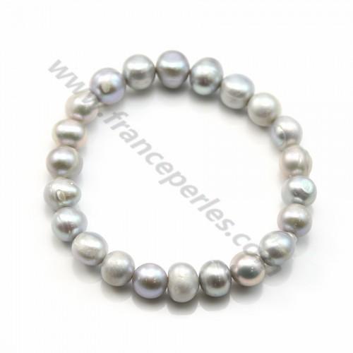 Bracelet Perles d'eau Douce Grise
