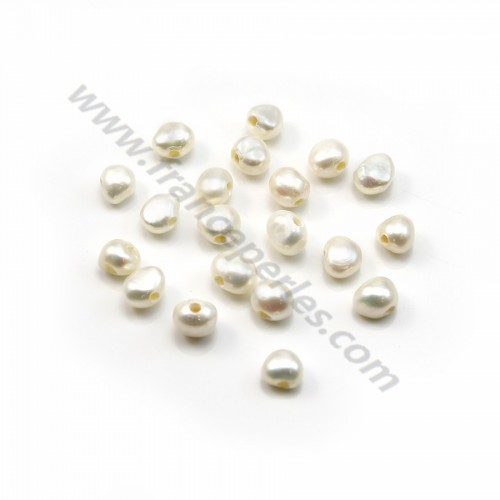 White baroque freshwater pearl 7-9mm with large drilling 1.9mm x 20pcs