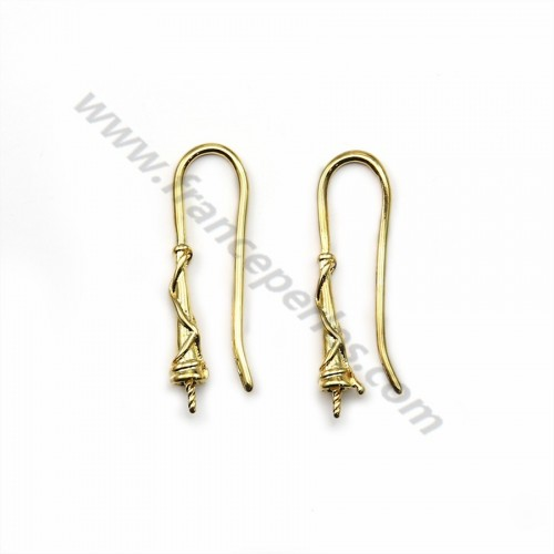 "Hook earrings for pearls semi drilled  Veneer by ""flash"" Gold on brass 26mm x 4pcs"